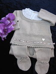 Baby Outfit, 2 tlg. zart braun