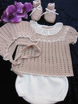 Baby Outfit, 4 tlg. camel / weiss
