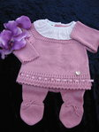 Baby Outfit, 2 tlg. dunkel rosa