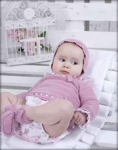 Baby Outfit, 4 tlg. in alt rosa mit Rosenmuster