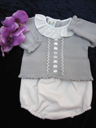 Baby Outfit, 2 tlg. weiss/ grau