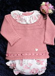 Baby Outfit, 2 tlg. in alt rosa mit Rosenmuster