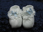 Baby knit shoe white / blue